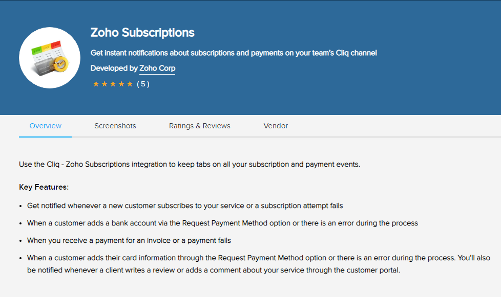 Zoho Subscriptions