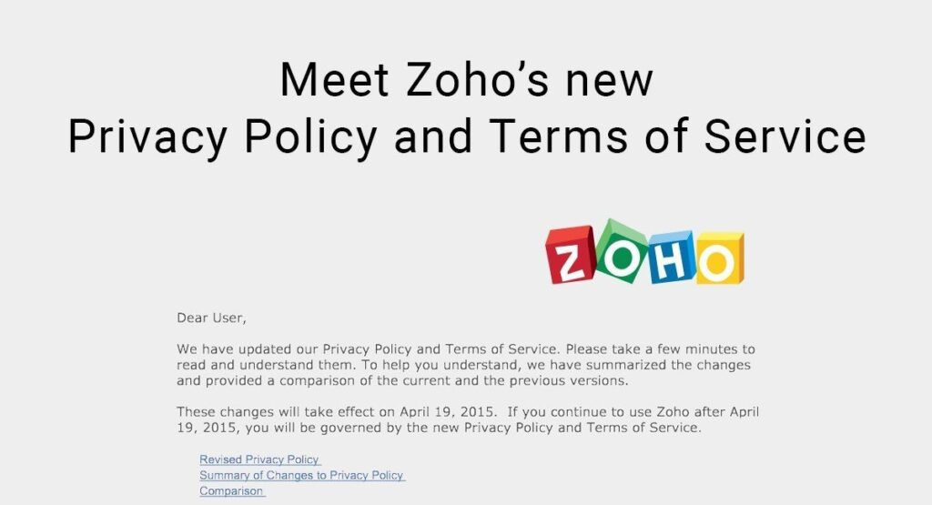 Zoho new privacy policy terms