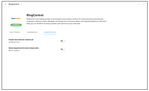 RingCentral integration with Zoho CRM