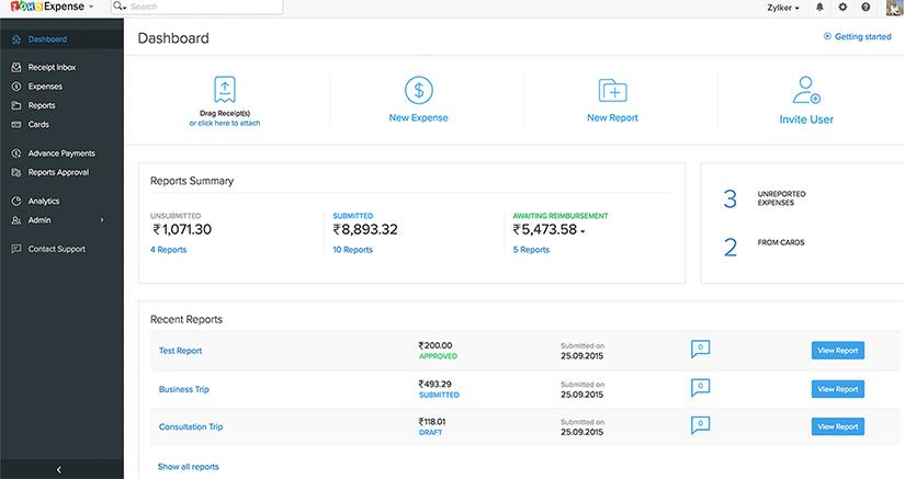 Zoho Finance Plus - Expense