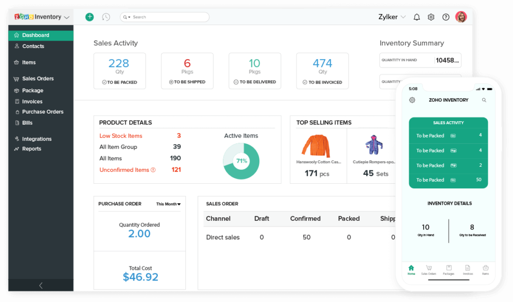 Zoho's order management and fulfilment software allows you to
