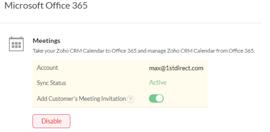 Zoho CRM Office 365 calendar integration