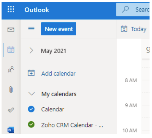 Zoho CRM meetings within Outlook