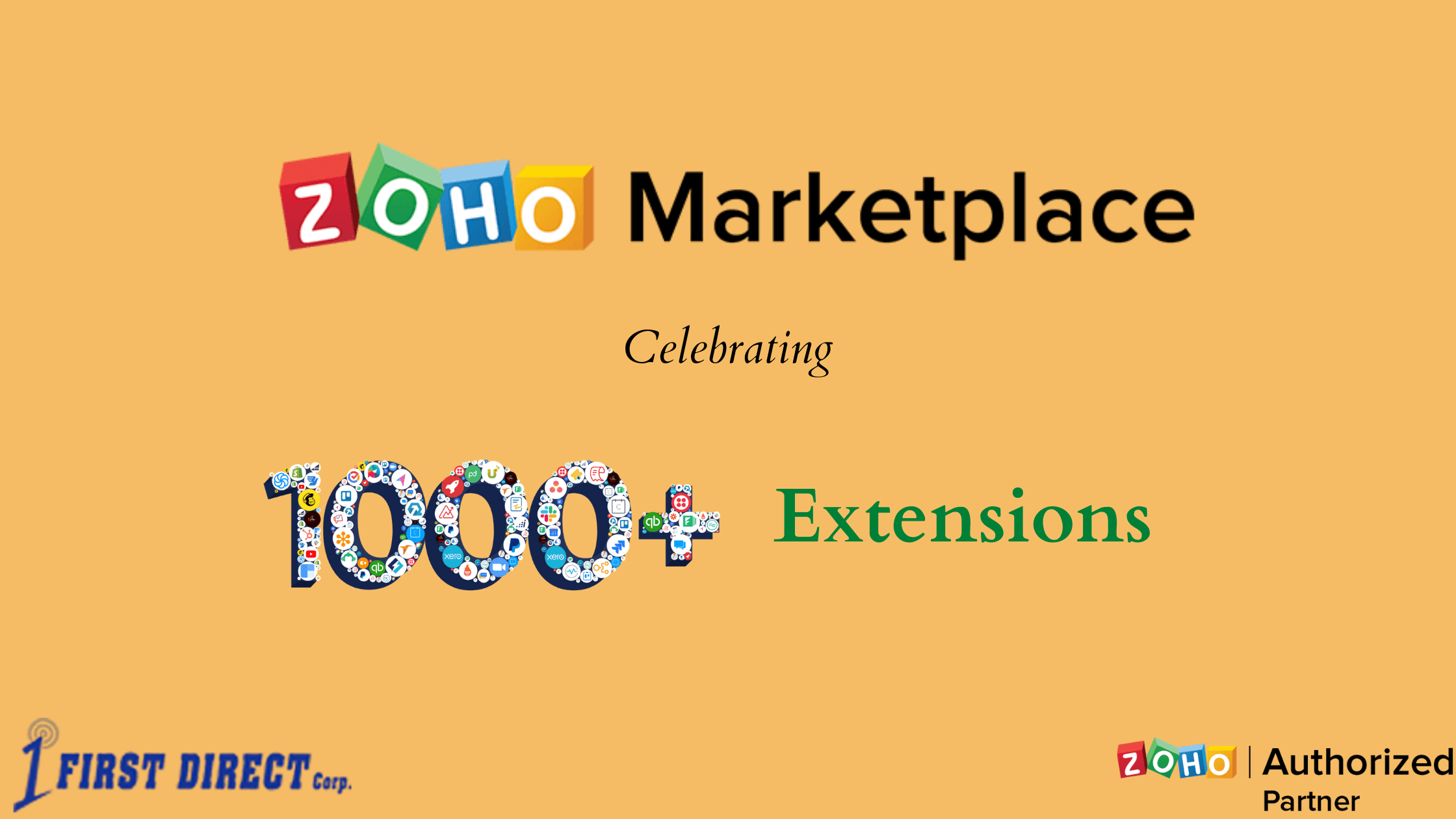 Zoho products integrate with 1000+ extensions that are available through Zoho Marketplace.