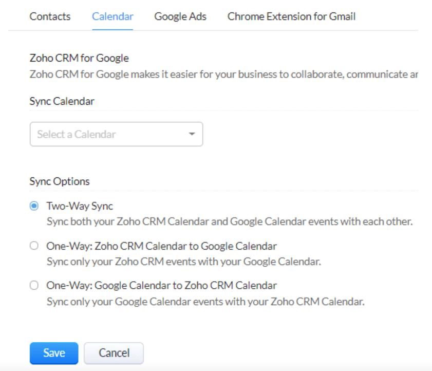 sync between your Google Calendar and your Zoho CRM calendar